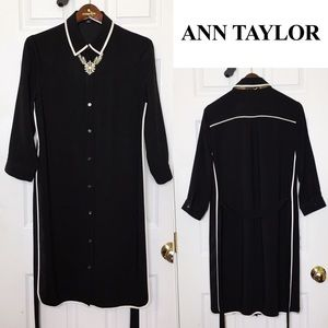 👗ANN TAYLOR👗Black Button Front Collared Dress